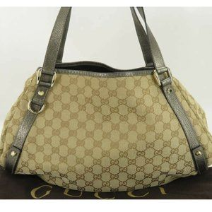 GUCCI GG CANVAS LEATHER HAND BAG TOTE BAG EY566